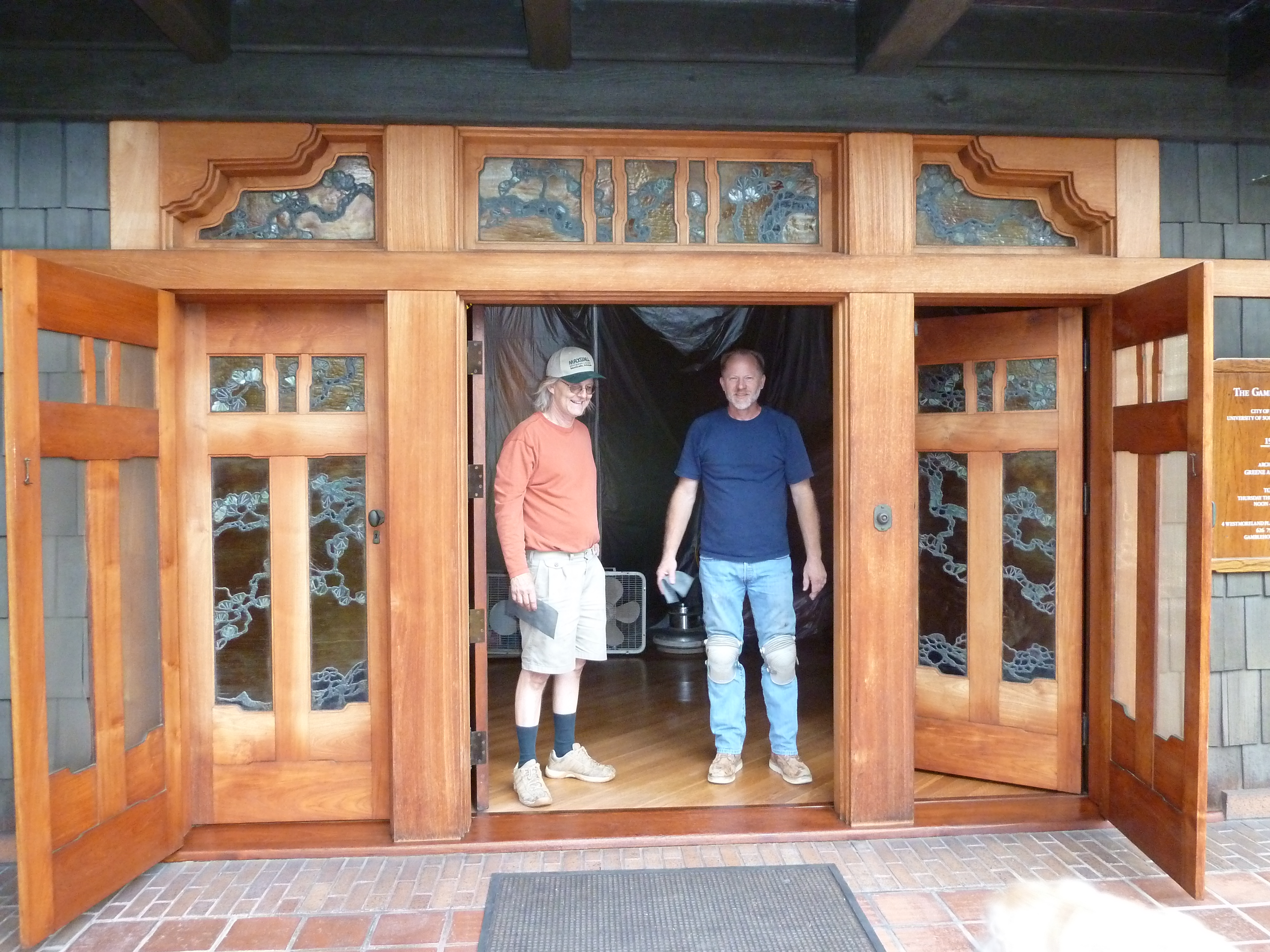 Pete and Dan in front of the beautiful doors of the Gamble House July 2012 & The Gamble House | Pete\u0027s Floors